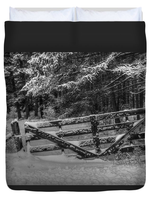 Gate Duvet Cover featuring the photograph Snowy Gate by Wild Fire