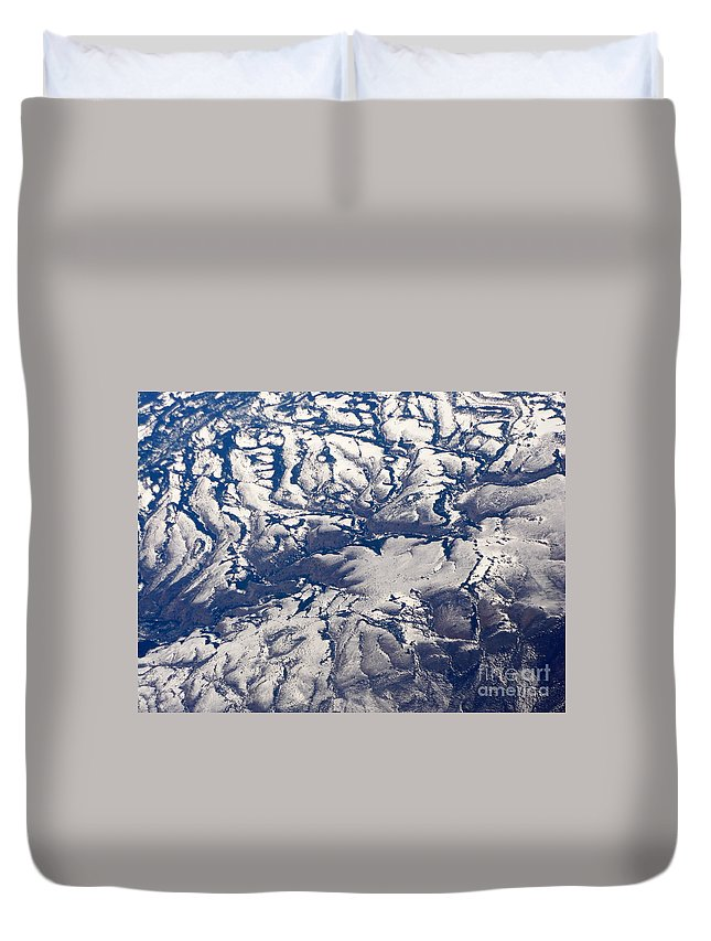 Aerial Duvet Cover featuring the photograph Snowy Landscape Aerial by Carol Groenen