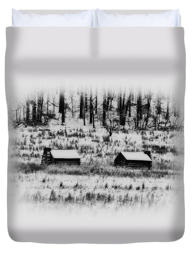 Log Duvet Cover featuring the photograph Snowy Log Cabins At Valley Forge by Bill Cannon