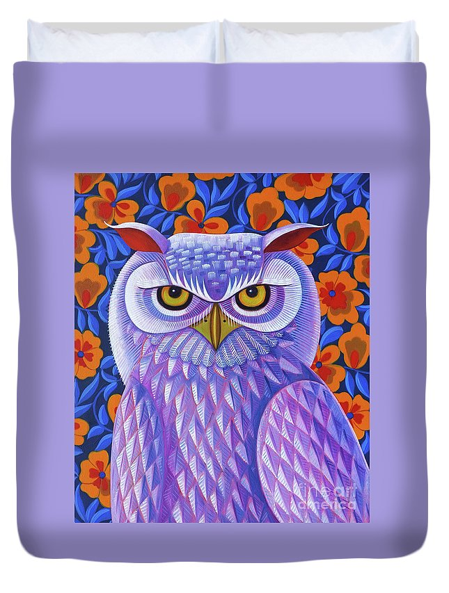 Snowy Owl Duvet Cover featuring the painting Snowy Owl by Jane Tattersfield