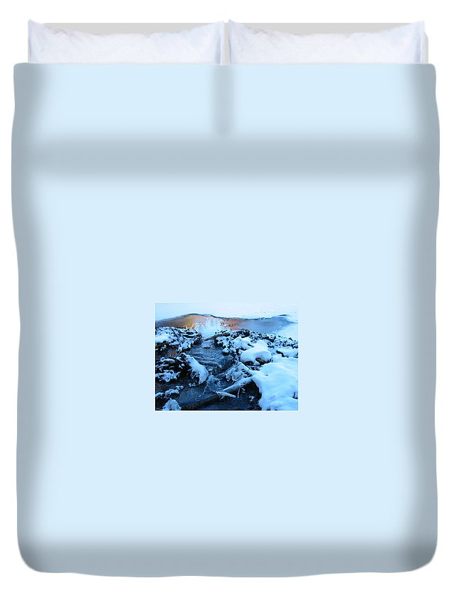 Snow Duvet Cover featuring the photograph Snowy Reflections by Angela Murray