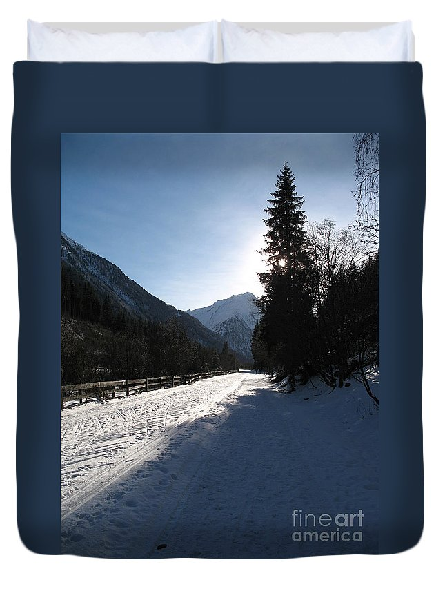 Snow Duvet Cover featuring the photograph Snowy Track by Christiane Schulze Art And Photography