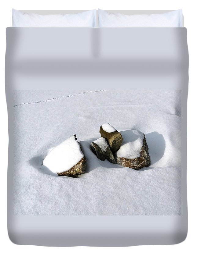 Nature Duvet Cover featuring the photograph Snowy Zen by Valerie Ornstein