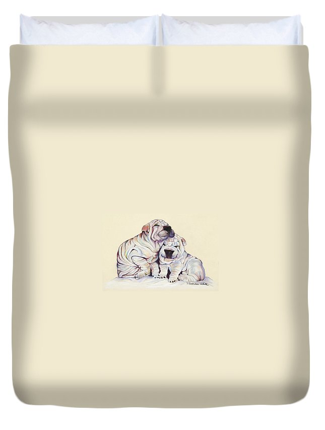 Dog Painting Duvet Cover featuring the pastel Snuggles by Pat Saunders-White