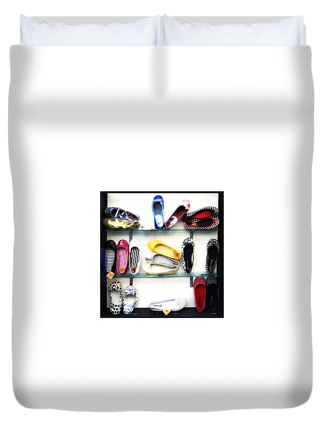 Shoes Duvet Cover featuring the photograph So Many Shoes... by Marilyn Hunt