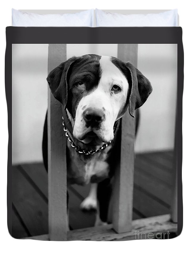 Black And White Duvet Cover featuring the photograph So Sad by Peter Piatt