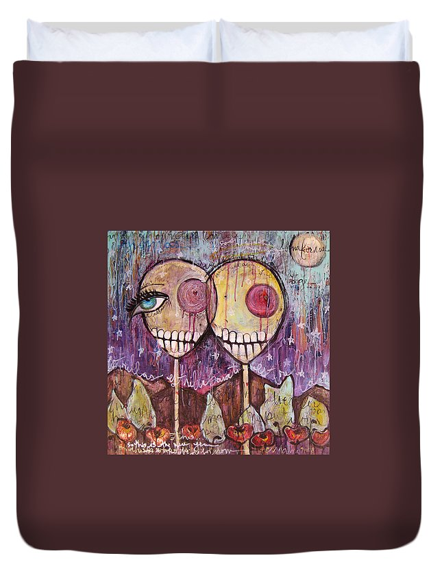 Skulls Duvet Cover featuring the painting So This Is The New Year Estrellas And All by Laurie Maves ART