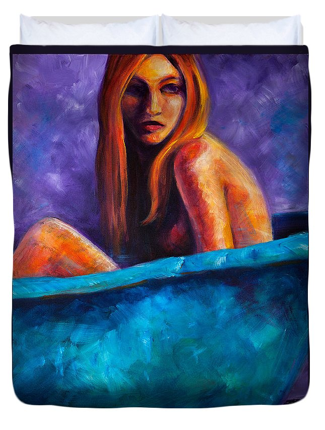 Nude Duvet Cover featuring the painting Soak by Jason Reinhardt