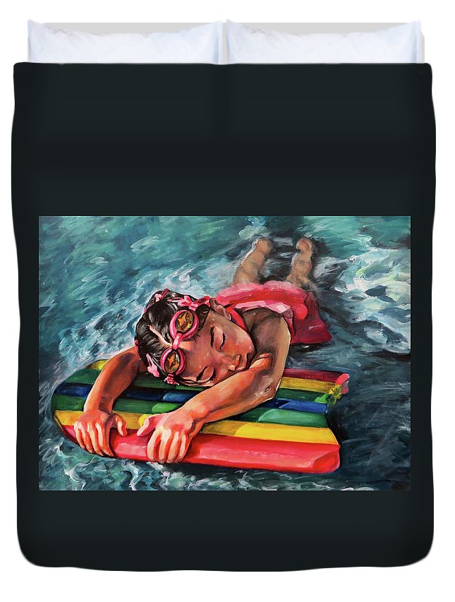 Summer Duvet Cover featuring the painting Soaking Up The Sun by Camellia Jiles