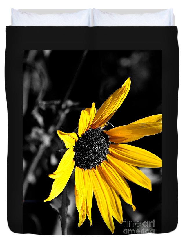 Clay Duvet Cover featuring the photograph Soaking Up The Yellow Sunshine by Clayton Bruster