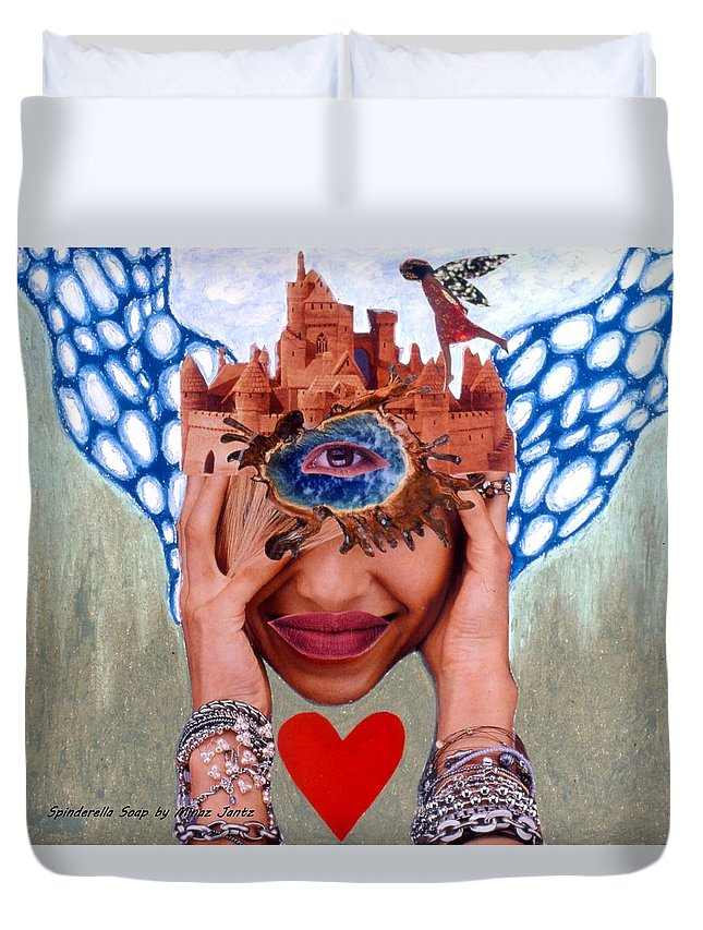 Sandcastle Duvet Cover featuring the drawing Soap Scene # 12 Sandcastle Shrine by Minaz Jantz
