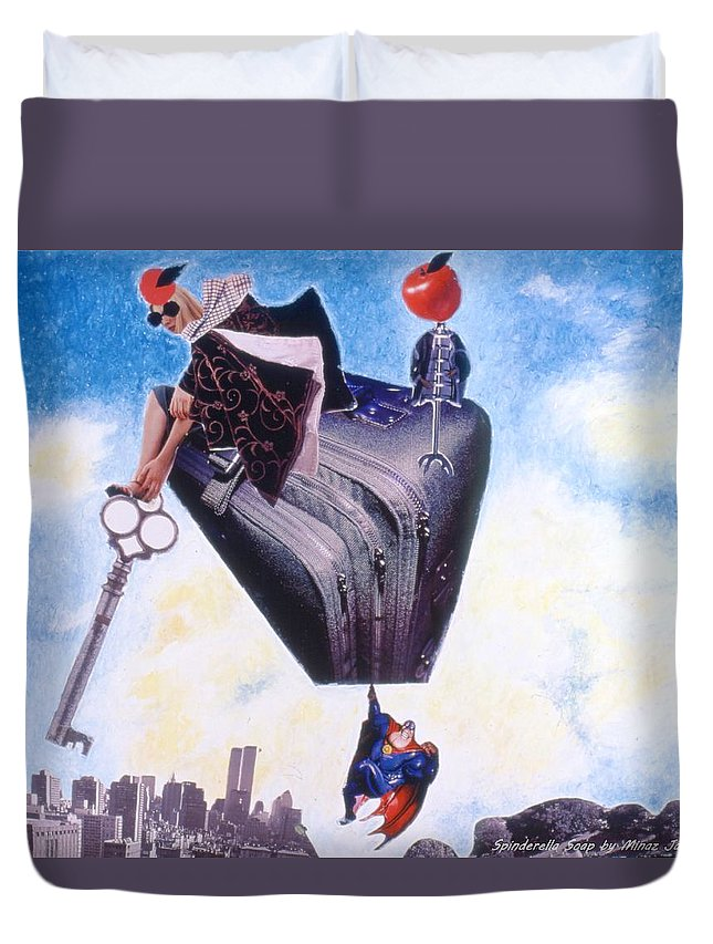 Twin Towers Duvet Cover featuring the drawing Soap Scene #11 Seek The Love Within by Minaz Jantz