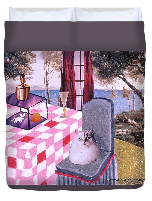 Cat Duvet Cover featuring the drawing Soap Scene #14 Mouse in a Cage by Minaz Jantz