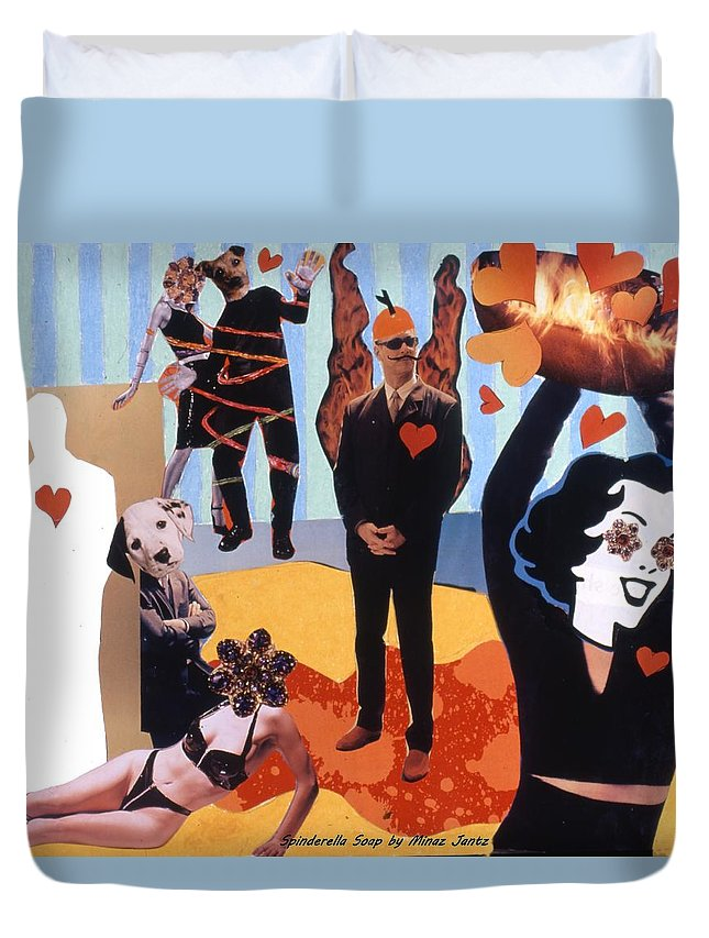 Hearts Duvet Cover featuring the drawing Soap Scene #18 Burn In Heaven At The Club Relish by Minaz Jantz