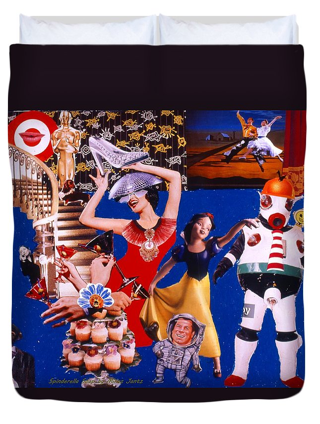 Surreal Duvet Cover featuring the drawing Soap Scene #23 Oscar's Kiss Of Success by Minaz Jantz