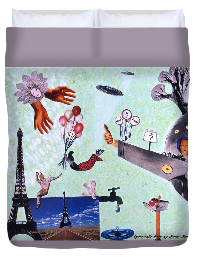 Eiffel Tower Duvet Cover featuring the drawing Soap Scene #27 Zelestial Headquarters by Minaz Jantz