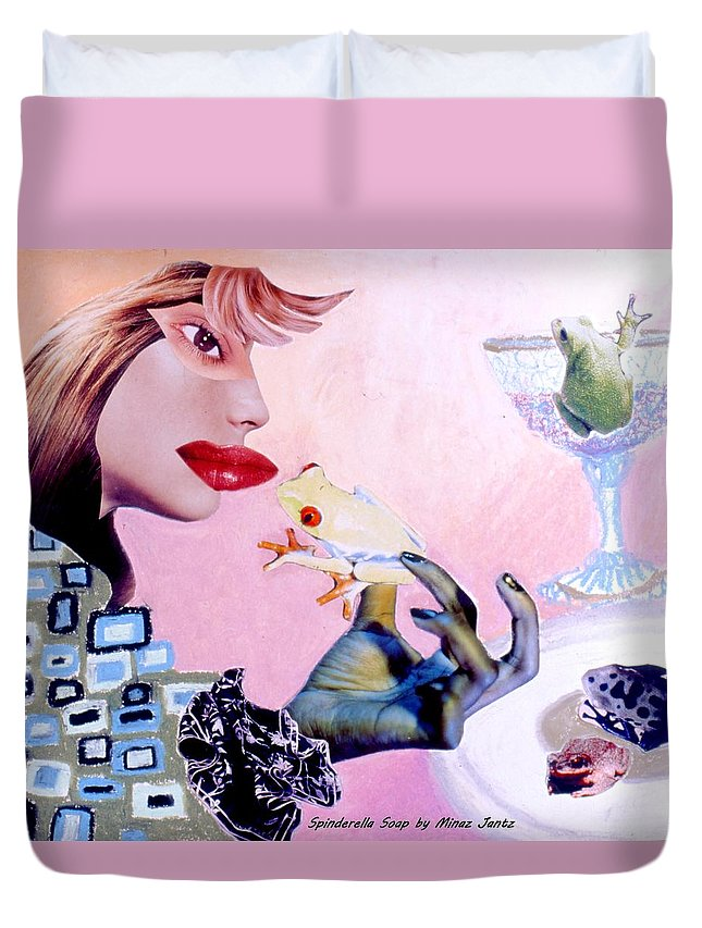 Frogs Duvet Cover featuring the drawing Soap Scene #6 Frogs Legs For Dinner by Minaz Jantz