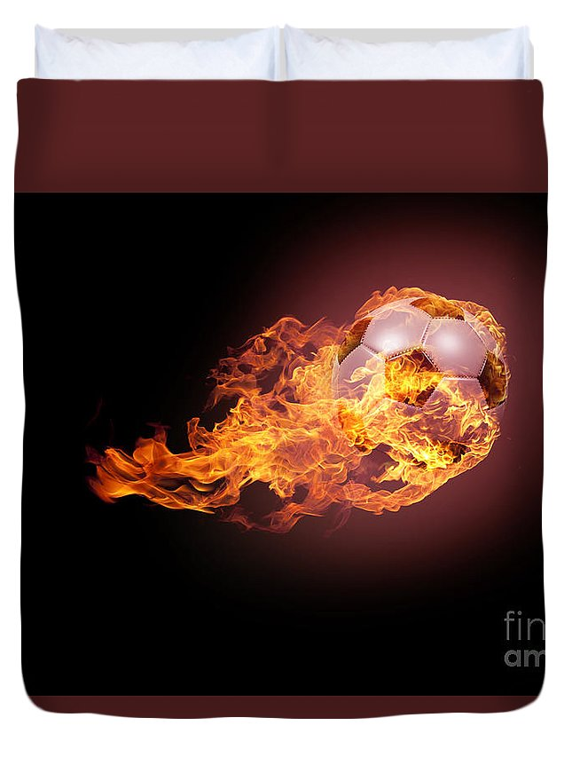 Activity Duvet Cover featuring the digital art Soccer Ball With Fire by Andreas Berheide