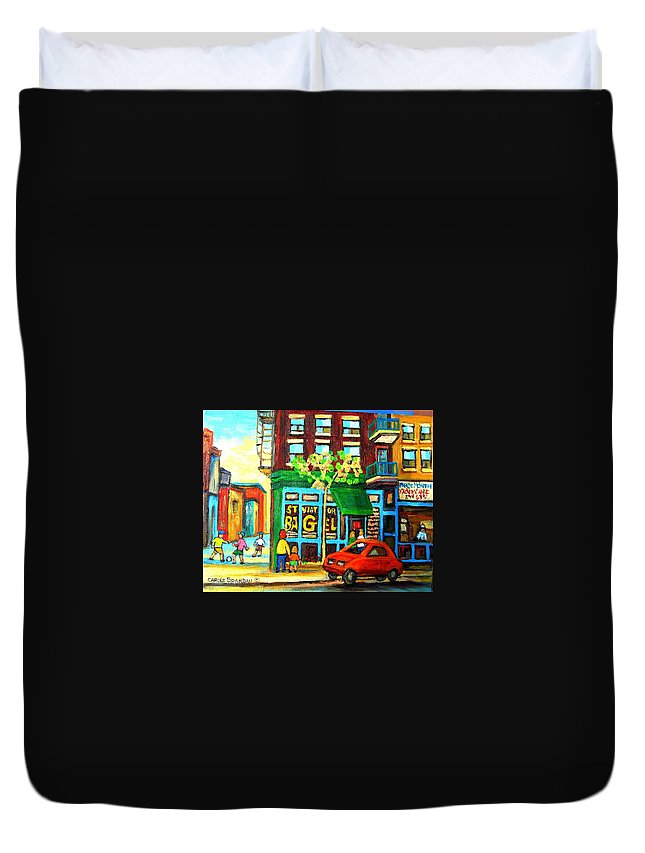 St Viateur Bagel Shop Montreal Street Scenes Duvet Cover featuring the painting Soccer Game At The Bagel Shop by Carole Spandau