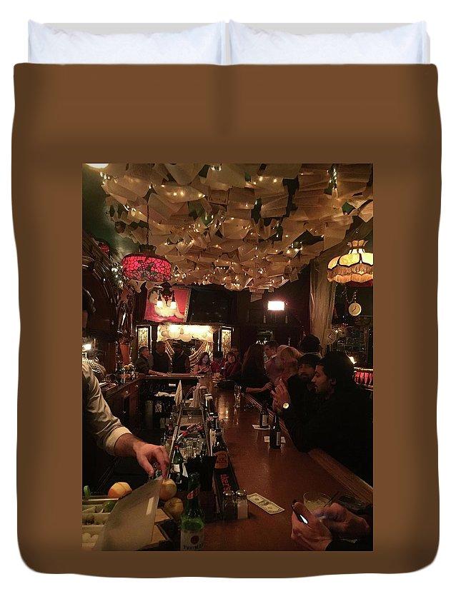 Bar Duvet Cover featuring the photograph Social Media by Kat Cortez