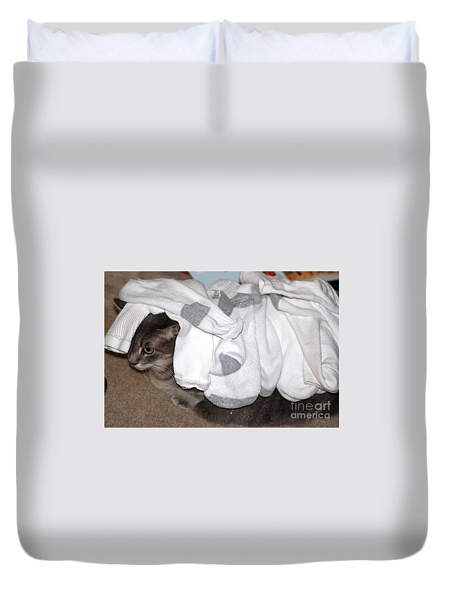 Socks Duvet Cover featuring the photograph Sock It To Me by Donna Bentley