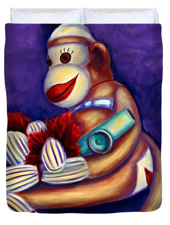 Children Duvet Cover featuring the painting Sock Monkey With Kazoo by Shannon Grissom