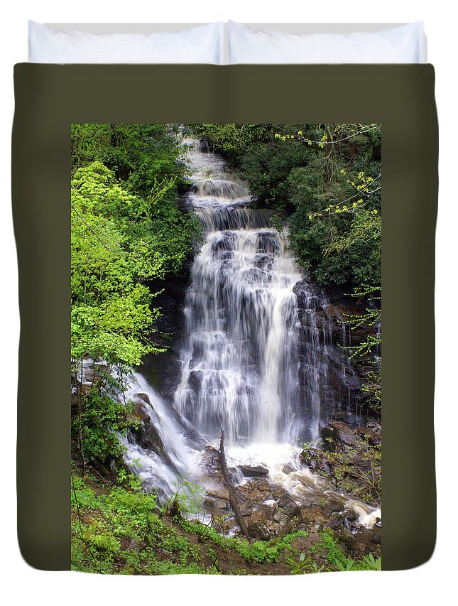 Soco Galls Duvet Cover featuring the photograph Soco Falls 1 by Marty Koch