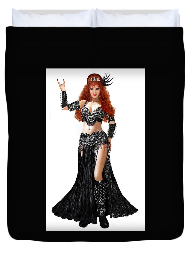 Black Metal Duvet Cover featuring the photograph Sofia Metal Queen. Black Metal. Bellydance Star Fashion by Sofia Metal Queen