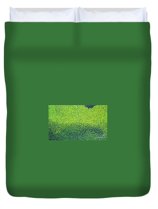 Abstract Duvet Cover featuring the painting Soft Green Wet Trees by Dean Triolo