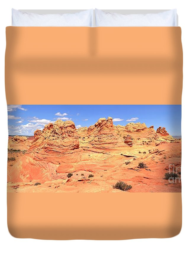 Vermilion Cliffs Panorama Duvet Cover featuring the photograph Soft Light On Vermilion Cliffs by Adam Jewell