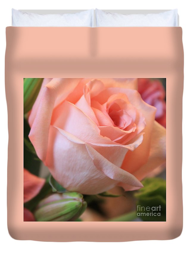 Pink Rose Duvet Cover featuring the photograph Soft Pink Rose by Carol Groenen