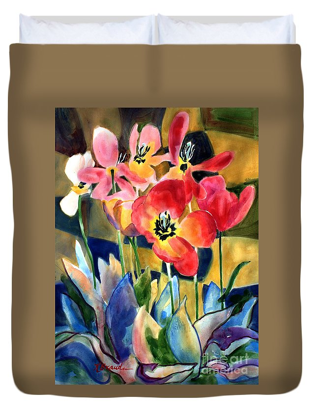 Paintings Duvet Cover featuring the painting Soft Quilted Tulips by Kathy Braud