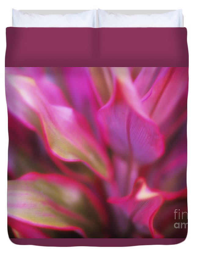 Abstract Duvet Cover featuring the photograph Soft Red Ti by Ron Dahlquist - Printscapes