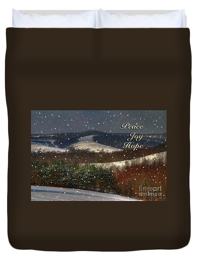 Christmas Duvet Cover featuring the photograph Soft Sifting Christmas Card by Lois Bryan