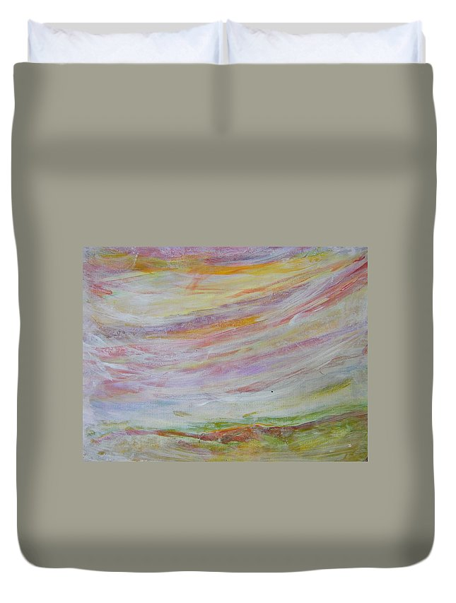 Abstract Duvet Cover featuring the painting Soft Sky by Judith Redman