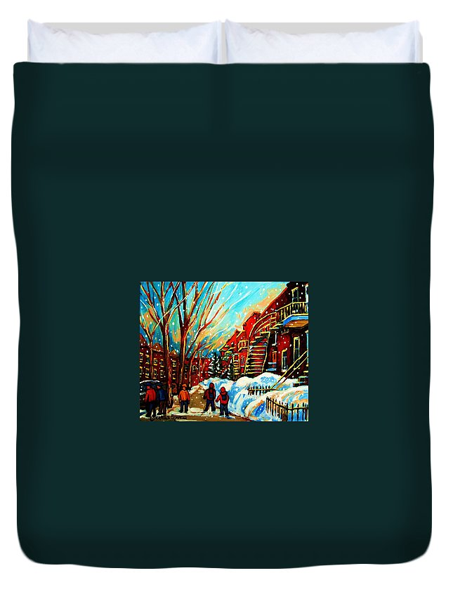 Montreal Duvet Cover featuring the painting Softly Snowing by Carole Spandau