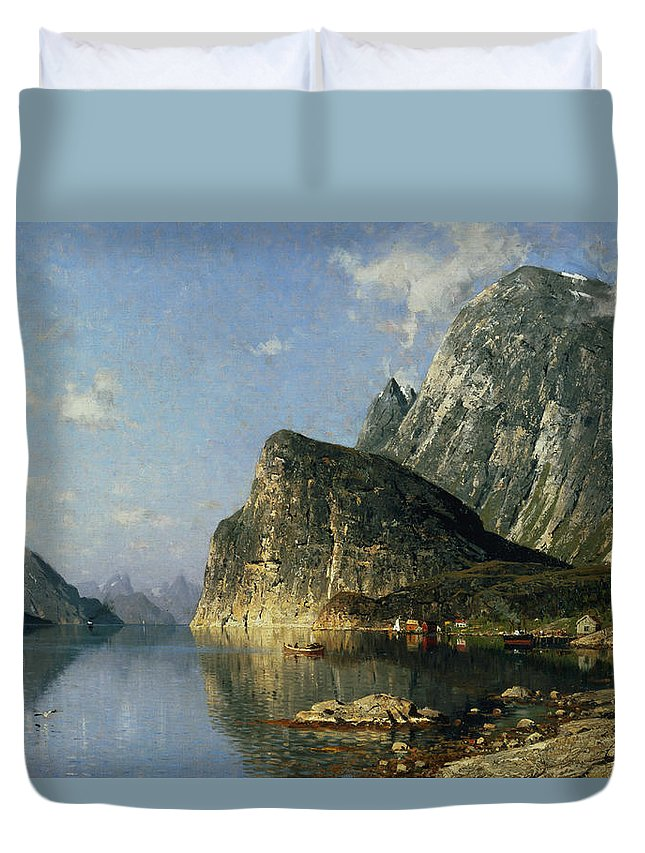Reflection; Steamer Duvet Cover featuring the painting Sogne Fjord Norway by Adelsteen Normann