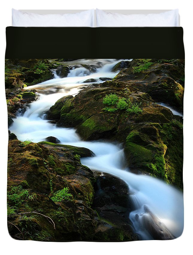 Columbia Gorge Duvet Cover featuring the photograph Sol Duc Falls 2 by Ingrid Smith-Johnsen