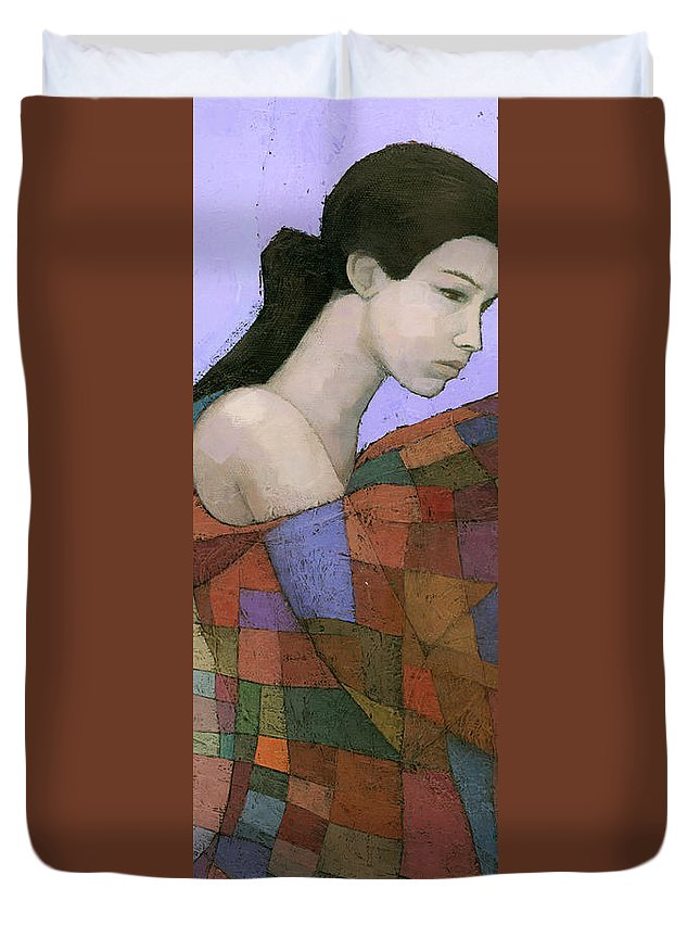Figurative Duvet Cover featuring the painting Solace Detail by Steve Mitchell