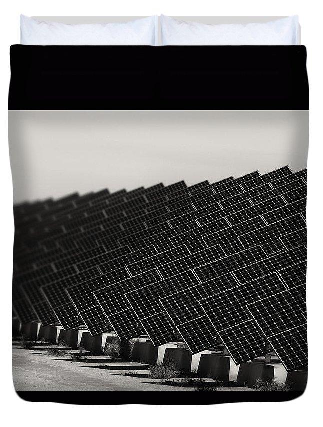 Solar Panels Duvet Cover featuring the photograph Solar City V2 by Douglas Barnard