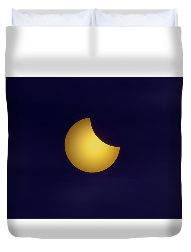 Eclipse Duvet Cover featuring the photograph Solar Eclipse 2017 Phase One by Mark Andrew Thomas