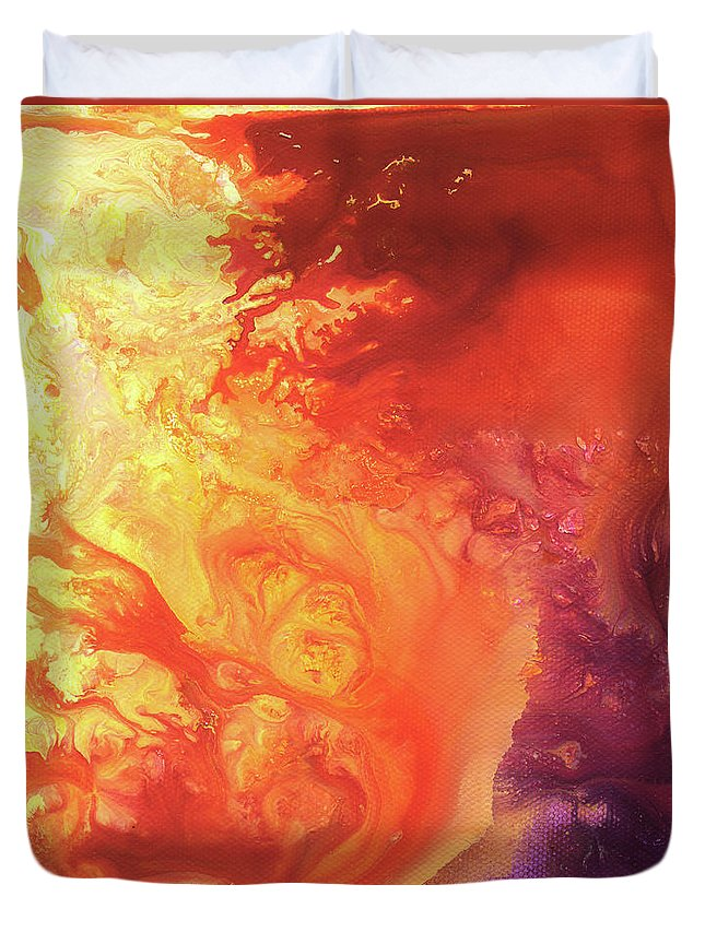 Sun Duvet Cover featuring the painting Solar Flare by Sherry Shipley