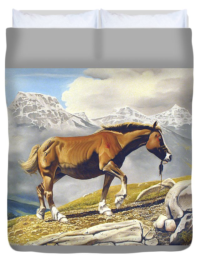 Horse Duvet Cover featuring the painting Sole Survivor by Marc Stewart