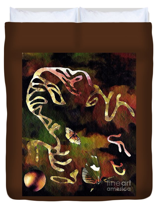 Sky Duvet Cover featuring the mixed media Solemn Wing Dance by Sarah Loft