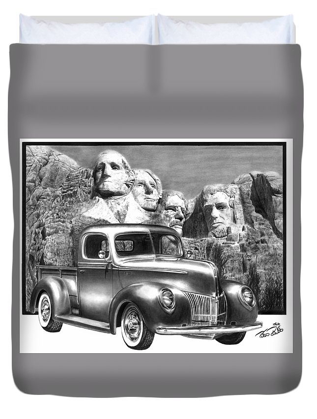 Solid As A Rock Duvet Cover featuring the drawing Solid As A Rock by Peter Piatt
