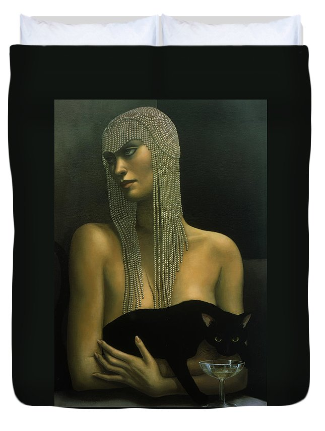 Cat Duvet Cover featuring the painting Solitare by Jane Whiting Chrzanoska
