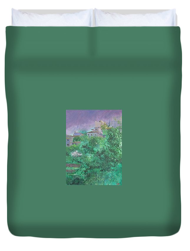 Impressionist Duvet Cover featuring the painting Solitary Almond Tree In Blossom Mallorcan Valley by Lizzy Forrester