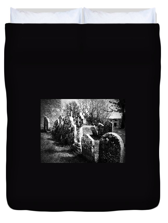 Ireland Duvet Cover featuring the photograph Solitary Cross At Fuerty Cemetery Roscommon Irenand by Teresa Mucha