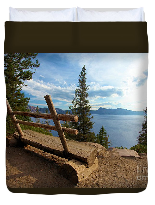 Crater Lake National Park Duvet Cover featuring the photograph Solitude At Crater Lake by Adam Jewell