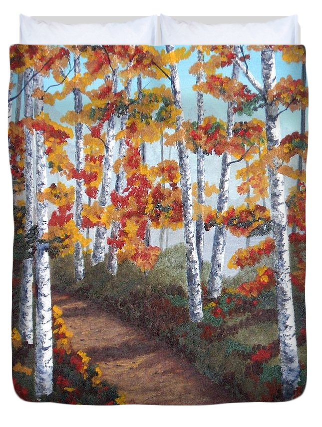 Fall Duvet Cover featuring the painting Solitude by Brandy House